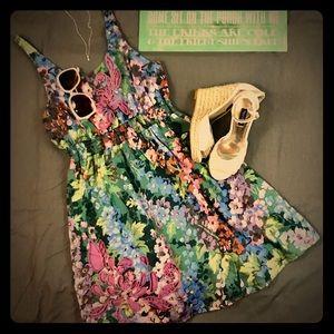 Lulumari Anthropologie floral embroidered dress M